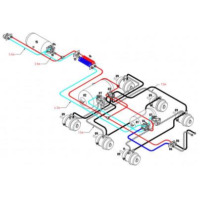 BRAKETEC TRAILER BRAKE KIT - TRI AXLE SEMI SLIDER B/D – R/T