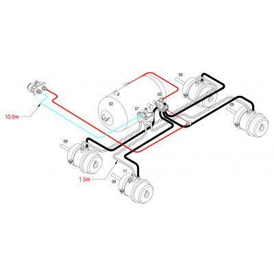 BRAKETEC TRAILER BRAKE KIT - 3 & 5 TON TANDEM AXLE SEMI (4 x spring brake)