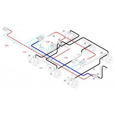 BRAKETEC TRAILER BRAKE KIT - TRI AXLE B/D – R/T SEMI