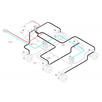 BRAKETEC TRAILER BRAKE KIT - TRI AXLE TAG REMOTE MOUNTED RELAY VALVES (SINGLE TANK 60L)