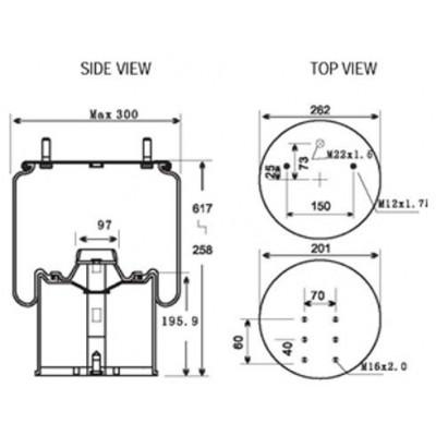 AIR SPRING - BPW TYPE 30 (1V8619)